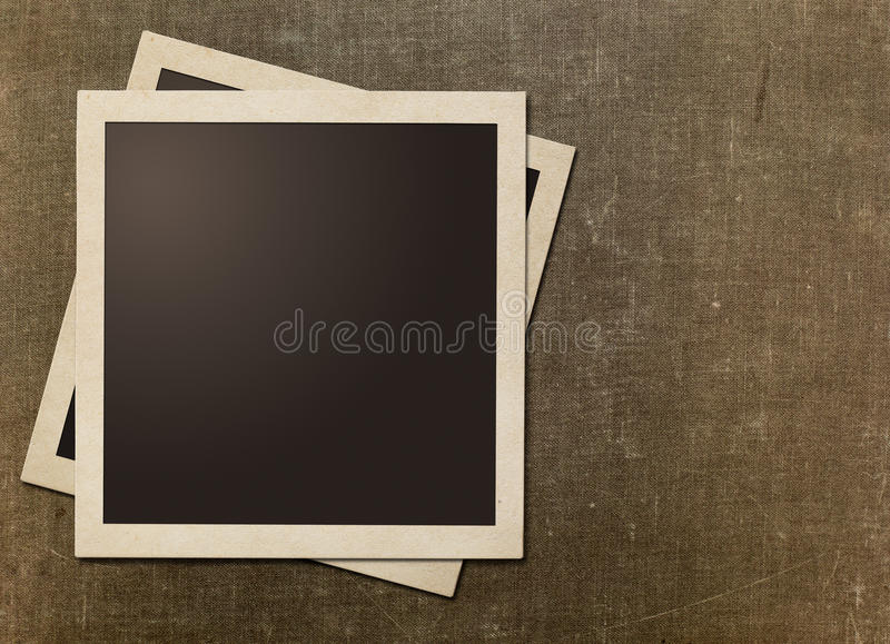 Quadros imediatos velhos do polaroid da foto na lona do grunge fotos de stock