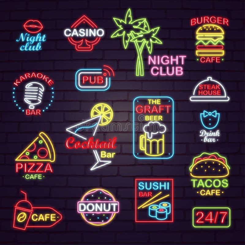 Quadros indicadores de néon da rua para clubes noturnos e cafés ilustração do vetor