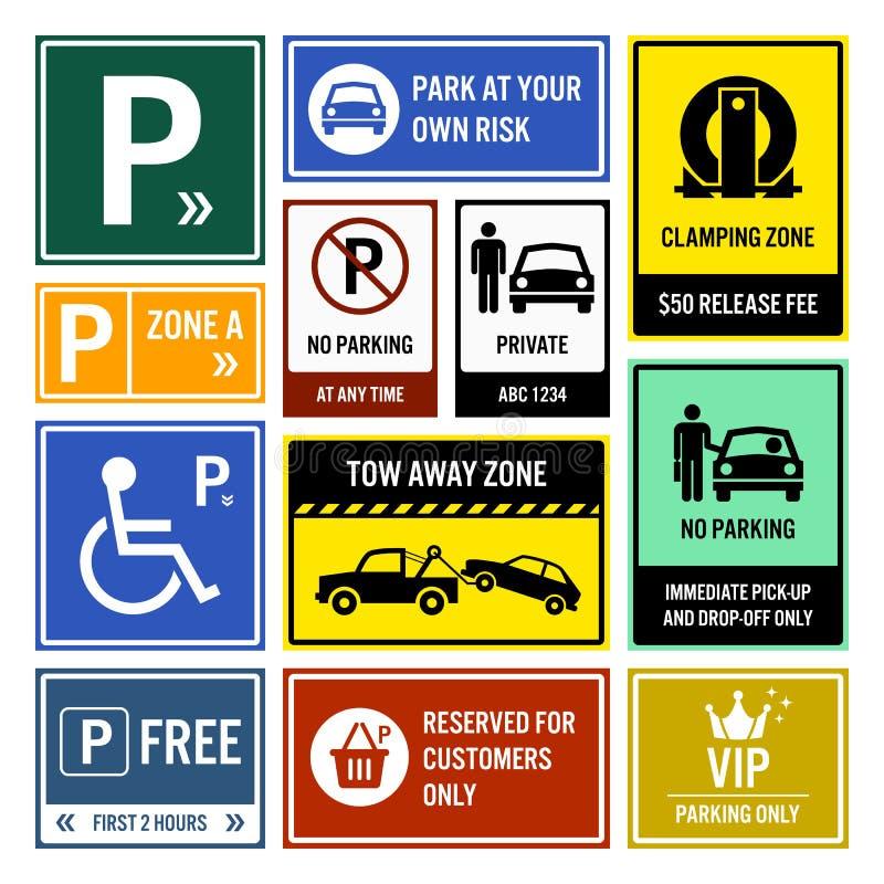 Quadros indicadores do estacionamento do parque de estacionamento ilustração royalty free