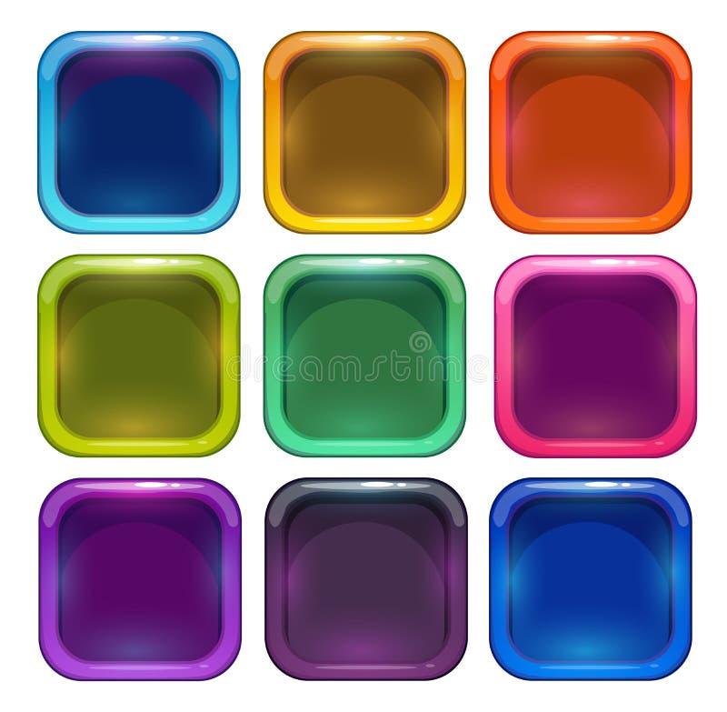 Quadros lustrosos coloridos do ícone do app ilustração royalty free