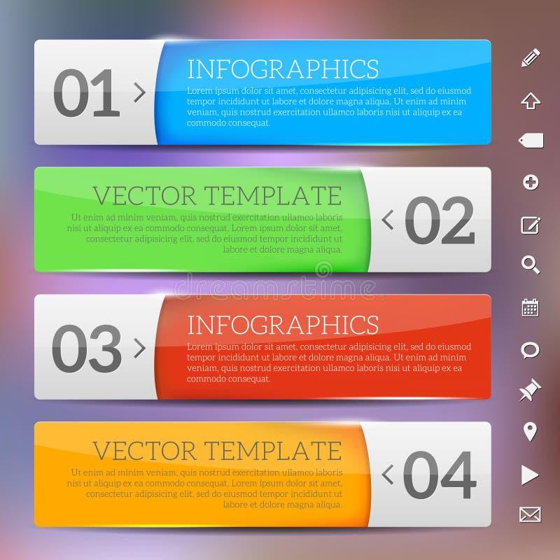 Quadros lustrosos - molde do infographics ilustração do vetor
