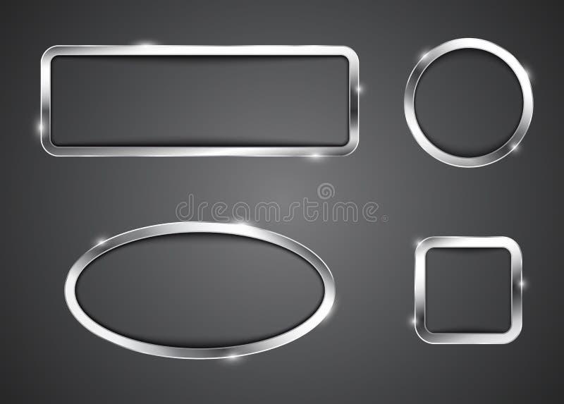 Quadros metálicos do botão para a Web ilustração royalty free