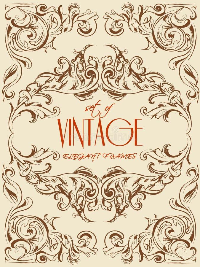 Quadros muito elegantes do vetor do mão-desenho do vintage para a decoração, o convite, os moldes e os outro Eps 10 ilustração do vetor