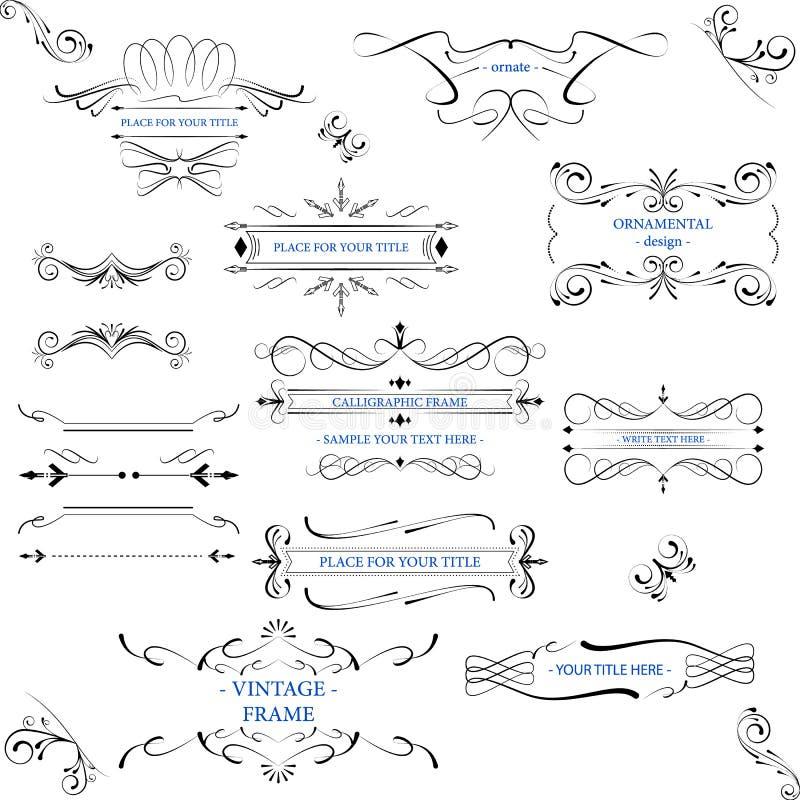 Quadros ornamentado com linhas e elementos decorativos do vintage ilustração stock