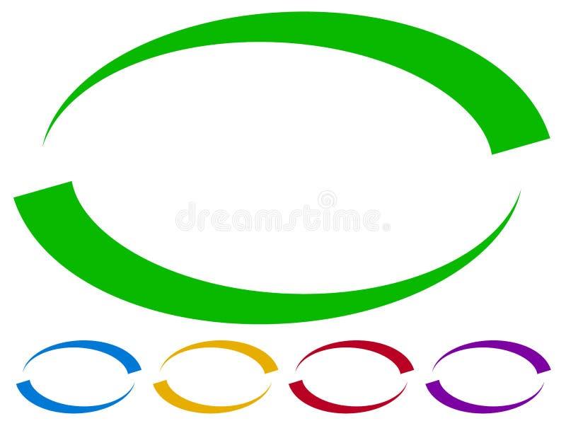 Quadros ovais - beiras em cinco cores Elementos coloridos do projeto ilustração do vetor