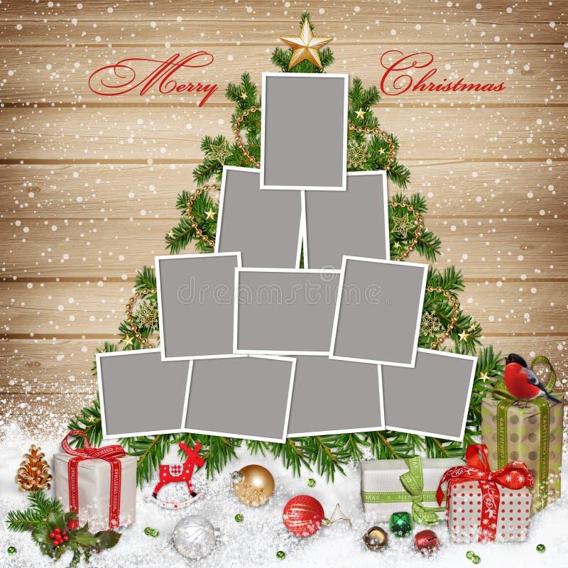 Quadros para a família, as decorações do Natal e os presentes no fundo de madeira ilustração stock