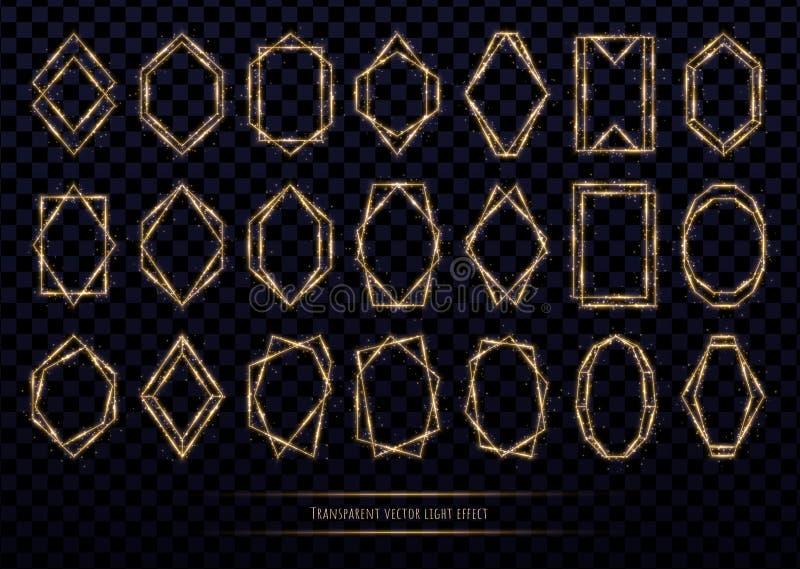 Quadros poligonais dourados de incandescência com sparkles Coleção luxuosa da beira isolada no fundo transparente ilustração stock