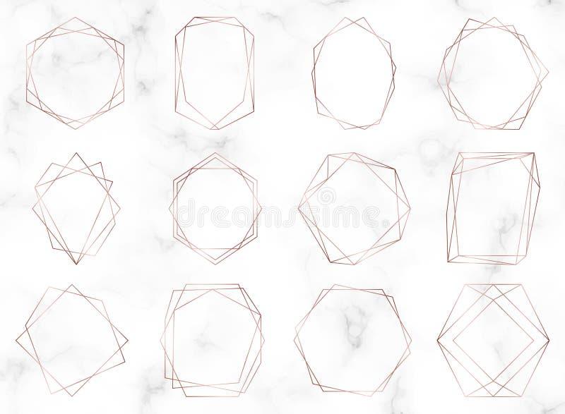 Quadros poligonais geométricos do ouro de Rosa Linhas beiras decorativas Elementos luxuosos para o convite do casamento, cargos d ilustração do vetor