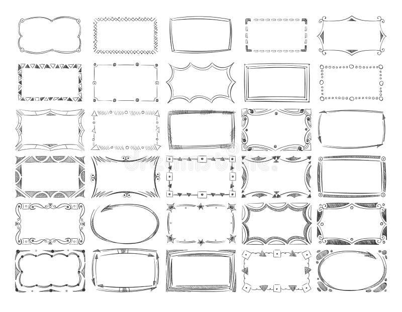 Quadros quadrados da imagem da garatuja, linha tirada mão grupo do vetor das beiras ilustração do vetor