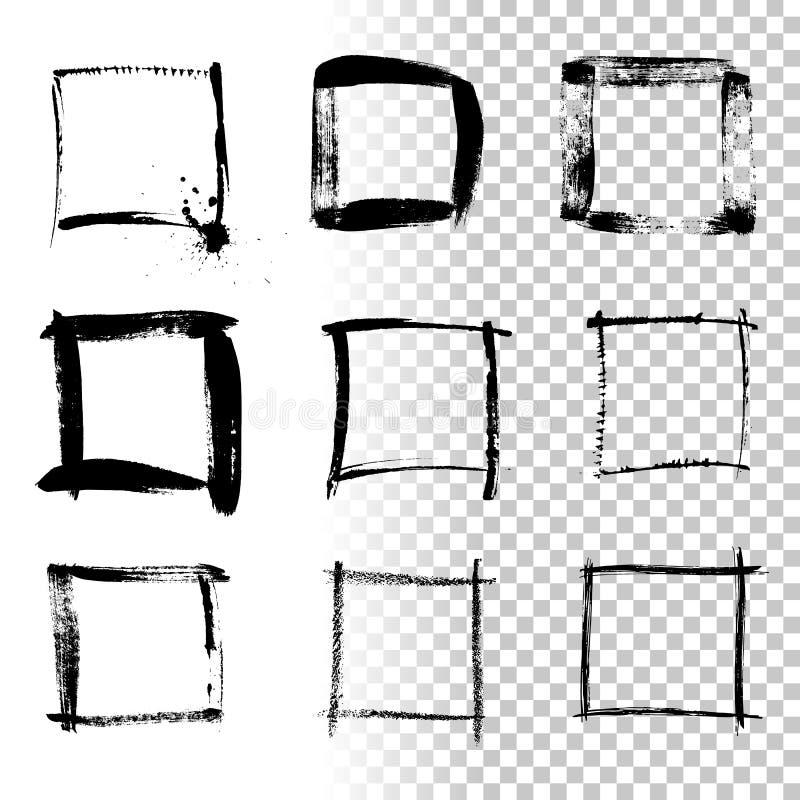 Quadros quadrados do grunge isolados no fundo transparente Grupo de elemento do projeto do vetor ilustração stock