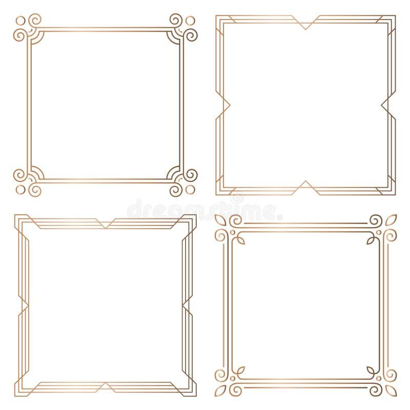 Quadros quadrados geométricos dourados, elementos do projeto ilustração do vetor