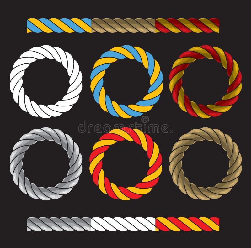 Quadros redondos feitos de cabos torcidos coloridos ilustração stock