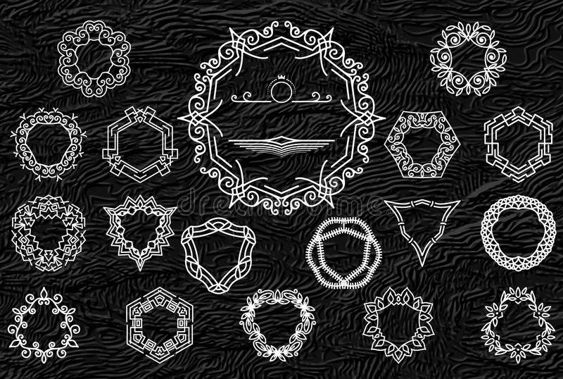 Quadros retros ou logotipos do vintage ajustados Elementos luxuosos do projeto para o monograma, os sinais do negócio, os Logotyp ilustração stock