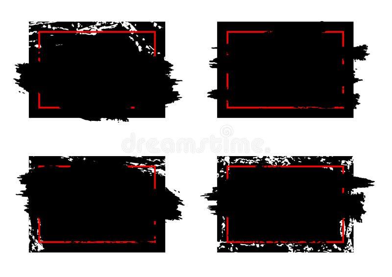 Quadros sujos modernos do projeto do curso da escova do grunge Pinte a tinta do respingo ilustração stock