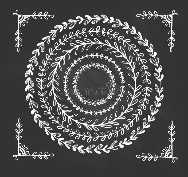 Quadros tirados do vintage mão floral circular ilustração do vetor