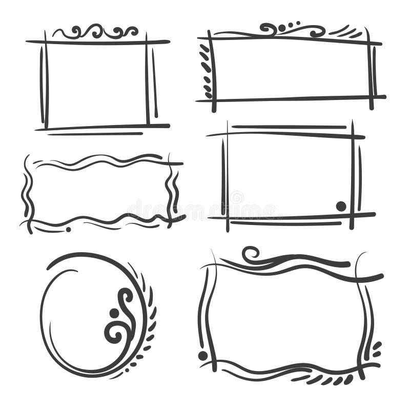 Quadros tirados mão ajustados Quadrado do vetor dos desenhos animados e beiras redondas Formas do efeito do lápis ilustração royalty free
