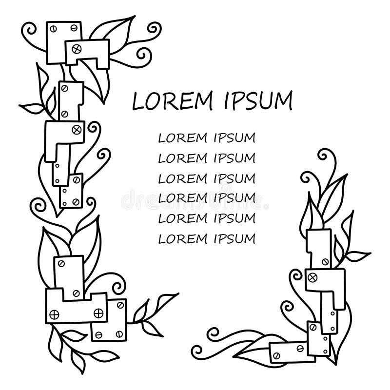 Quadros tirados mão do vetor no estilo do steampunk e nas folhas naturais da planta ilustração stock