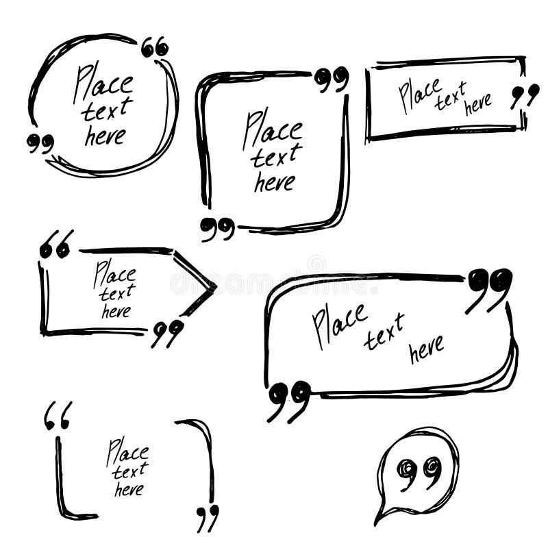 Quadros tirados mão para o texto ou as citações Elementos do vetor para seu projeto ilustração do vetor