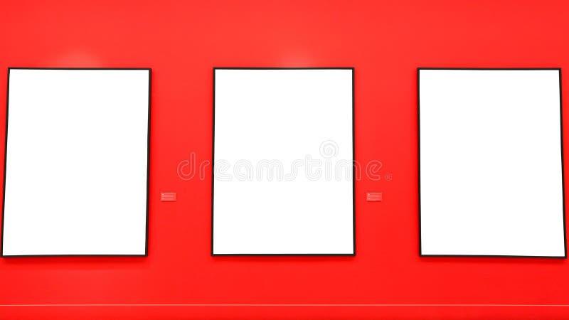 Quadros vazios da pintura na parede vermelha imagens de stock