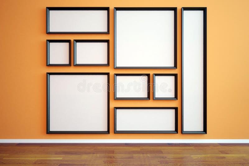 Quadros vazios múltiplos no interior ilustração stock