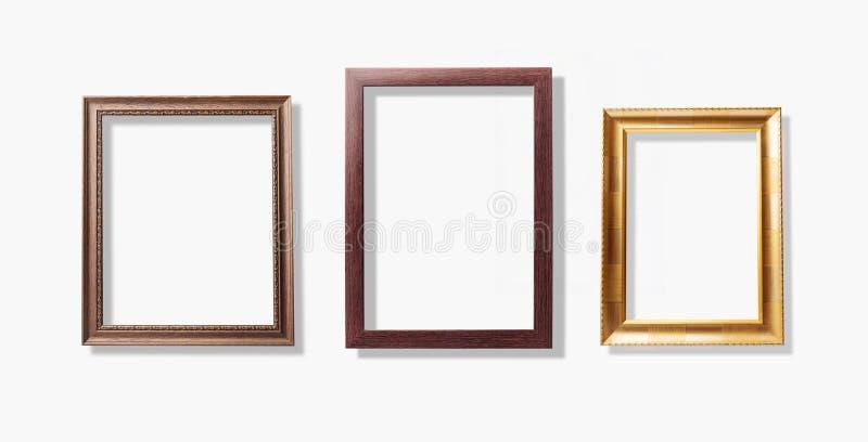 Quadros velhos do vintage, isolado de madeira da moldura para retrato no fundo branco foto de stock royalty free