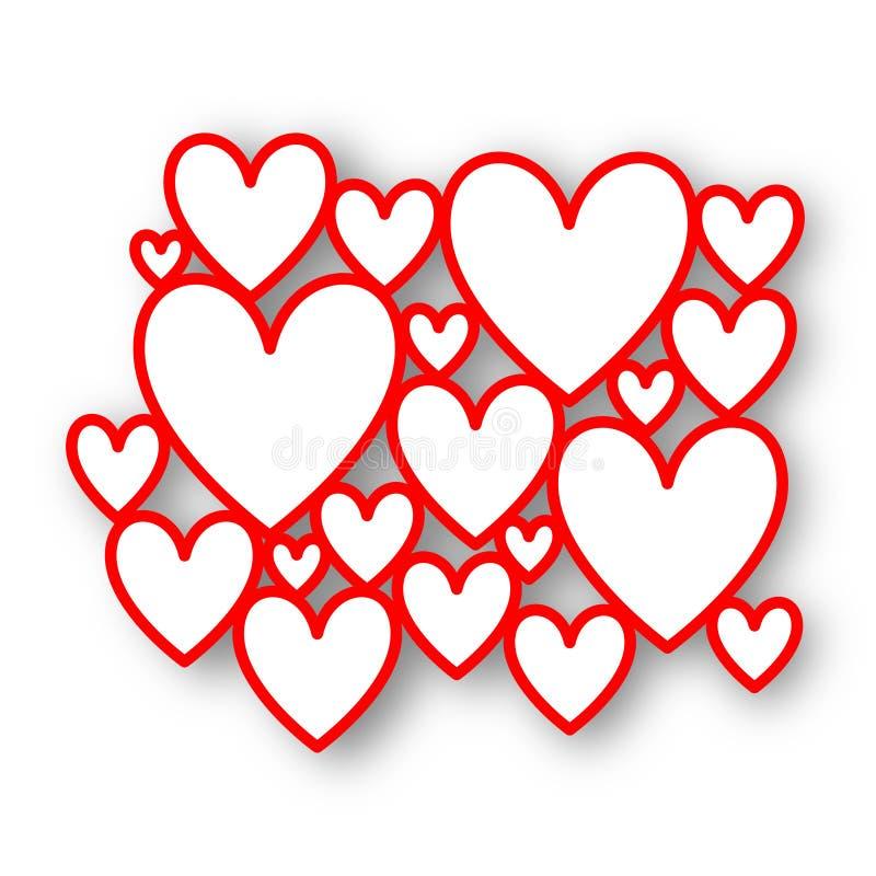 Quadros vermelhos do coração ilustração do vetor