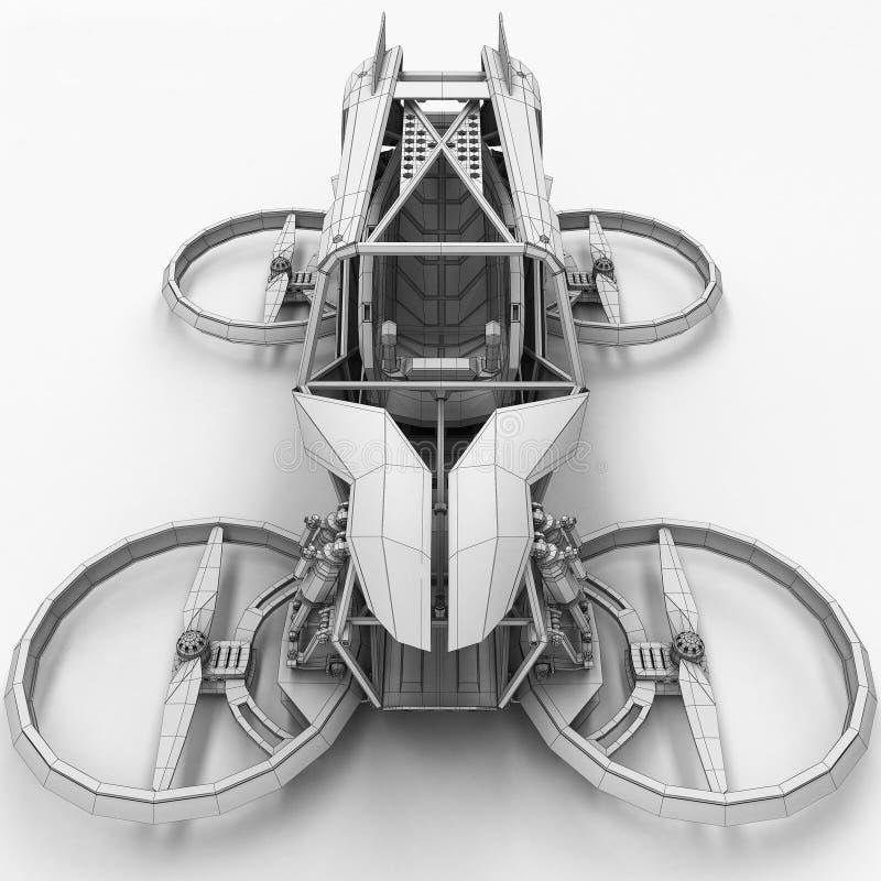 Quadrupter monoplaza compacto para el uso privado Pequeño vehículo urbano con un motor eléctrico ilustración del vector