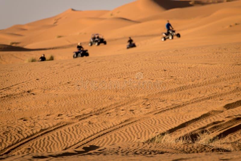 Quads on Sahara Desert. Merzouga, Morroco. stock photo