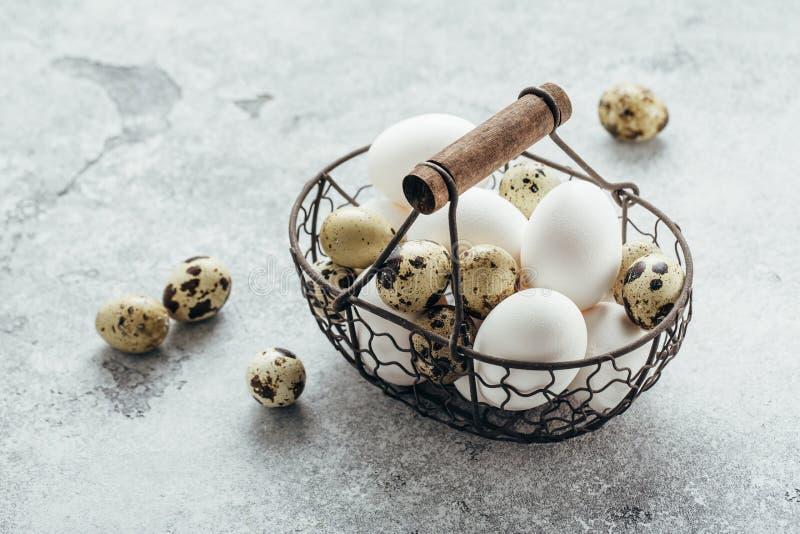 Quaglia ed uova bianche del pollo in un canestro fotografie stock
