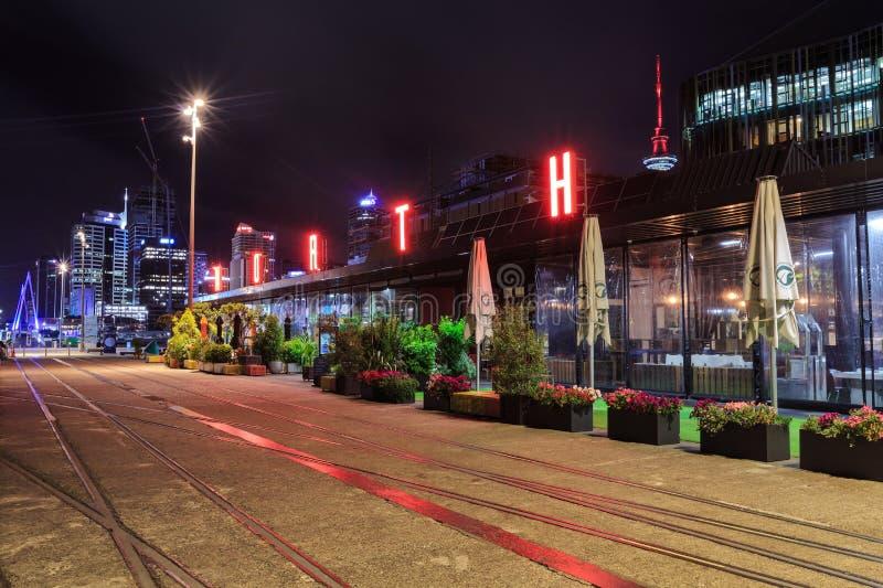 Quai du nord, Auckland, Nouvelle-Zélande, photographié la nuit photos stock