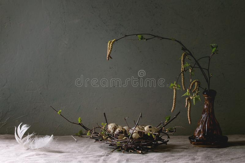 Quail Easter eggs in nest royalty free stock images