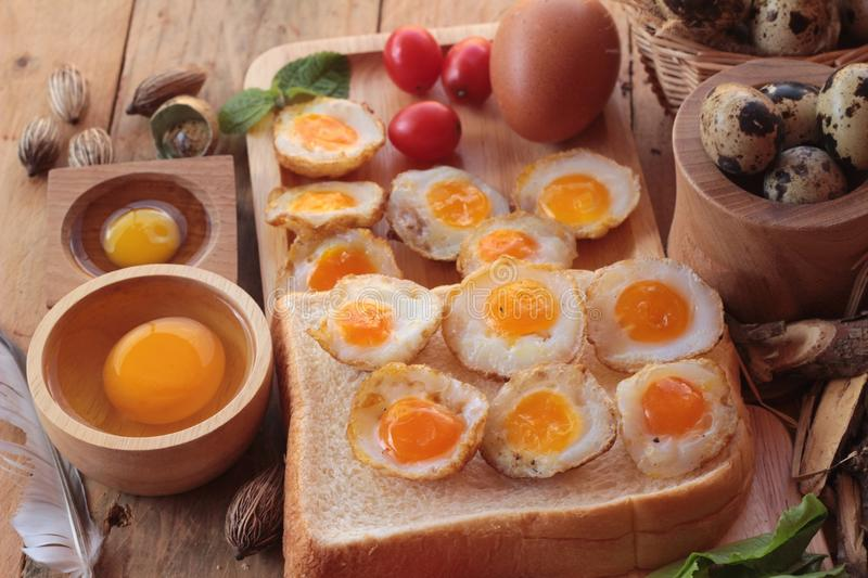 Quail eggs and fried quail eggs of delicious. Quail eggs and fried quail eggs of delicious stock photography