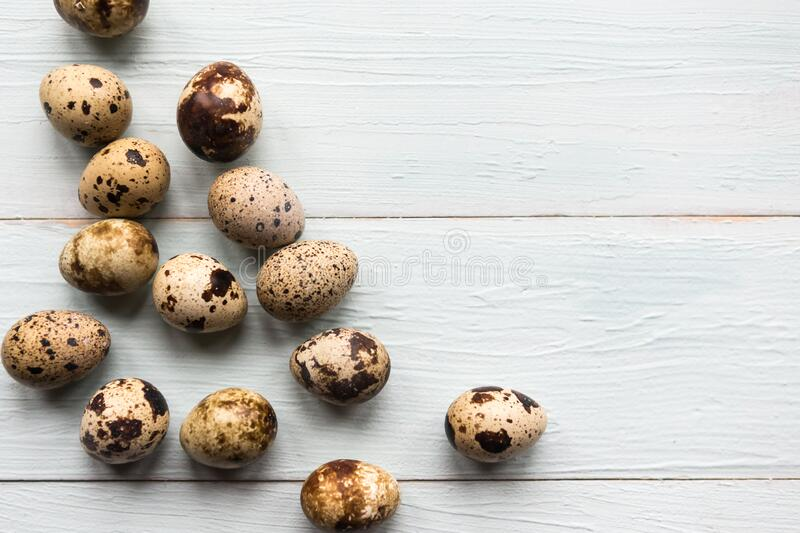 Quail eggs on wooden background. Easter concept. Copy space for the text stock photography