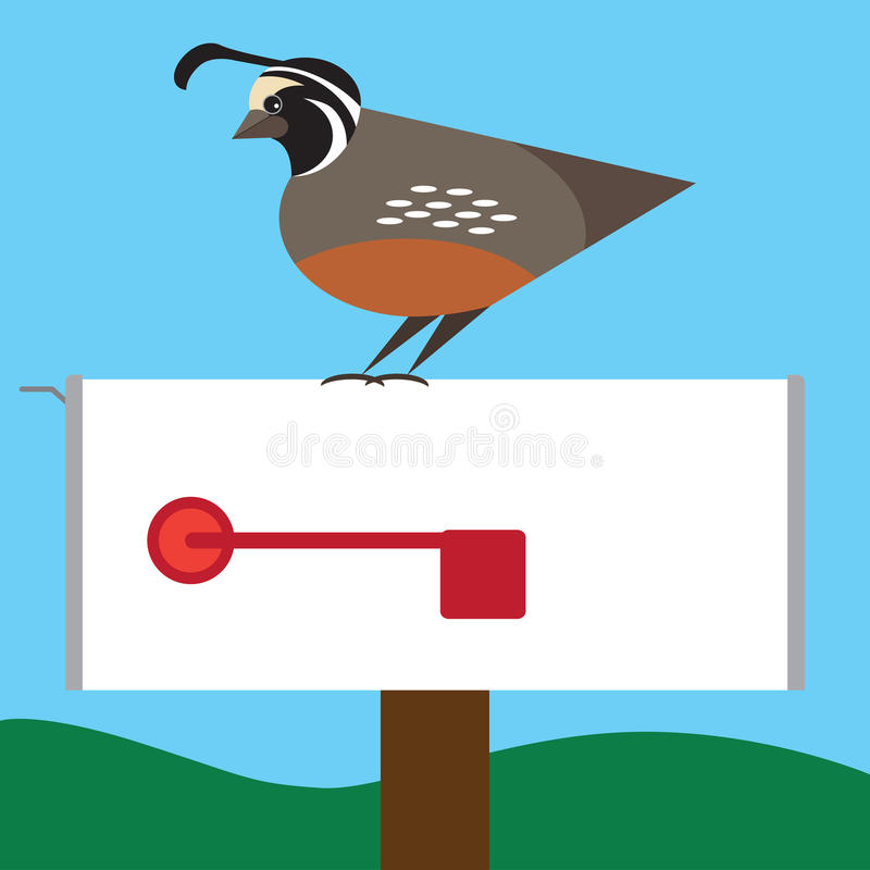 Quail on Mailbox stock illustration