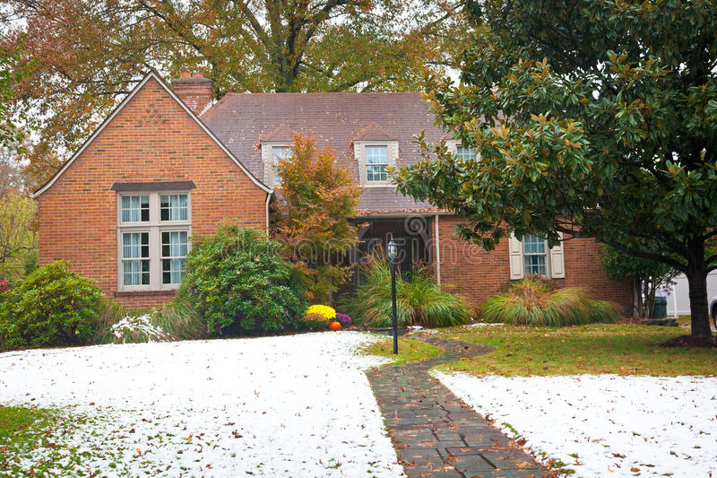 Download Quaint Brick Ranch-Style Home Stock Photo - Image: 27413720