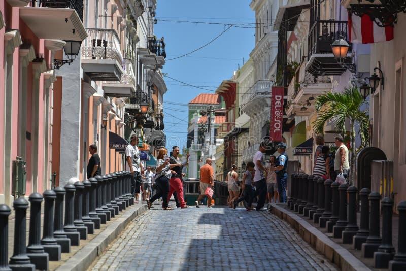 Quaint Caribbean Town - Calle Fortaleza, San Juan, Puerto Rico royalty free stock photos