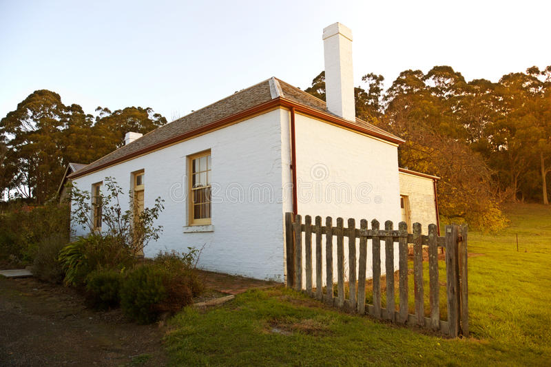 Quaint cottage. A pretty little cottage in the evening, Port Arthur historic site royalty free stock image