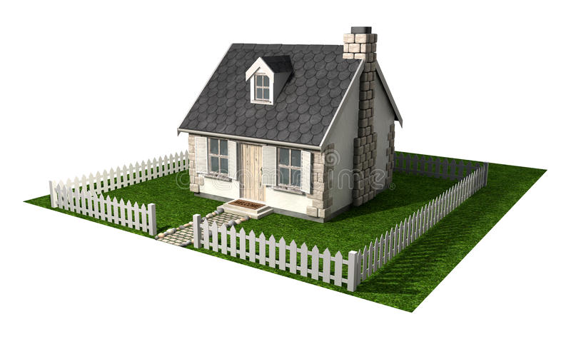 Quaint Cottage House With Garden And Picket Fence vector illustration