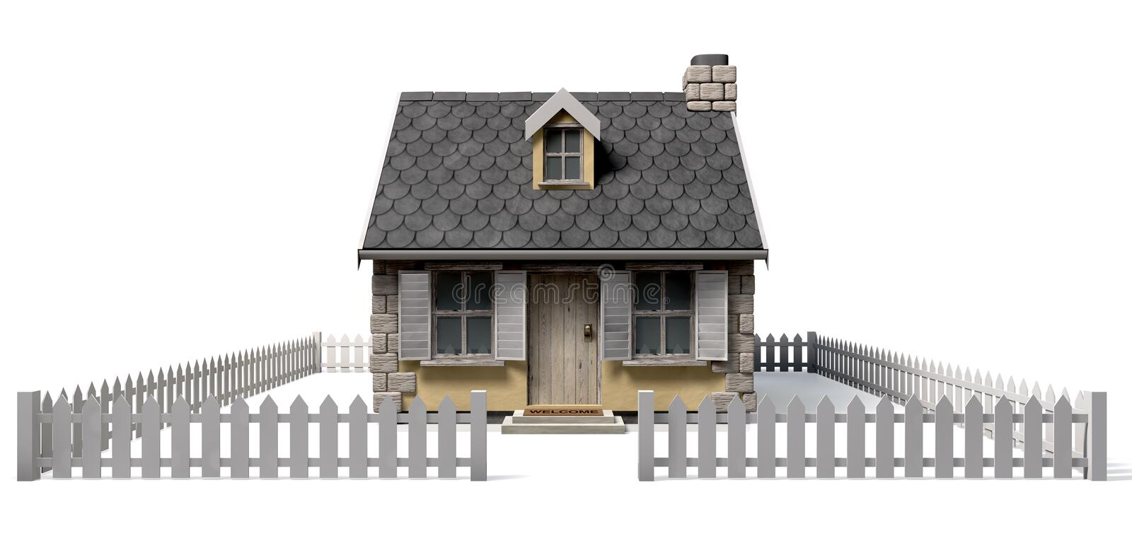 Download Quaint Cottage House With Garden And Picket Fence Stock Illustration - Image: 26457208