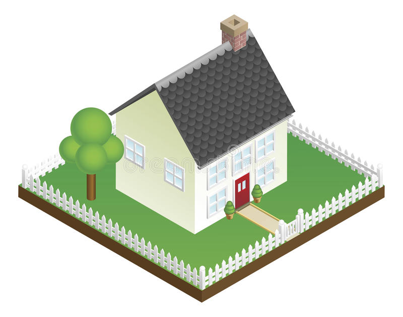 Download Quaint House With Picket Fence Isometric View Stock Vector - Image: 19093584