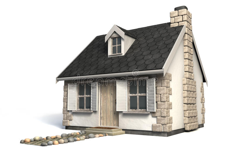 Quaint Little Cottage. A quaint little stone cottage with a brick chimney and wooden shutters on the windows on an isolated background stock illustration
