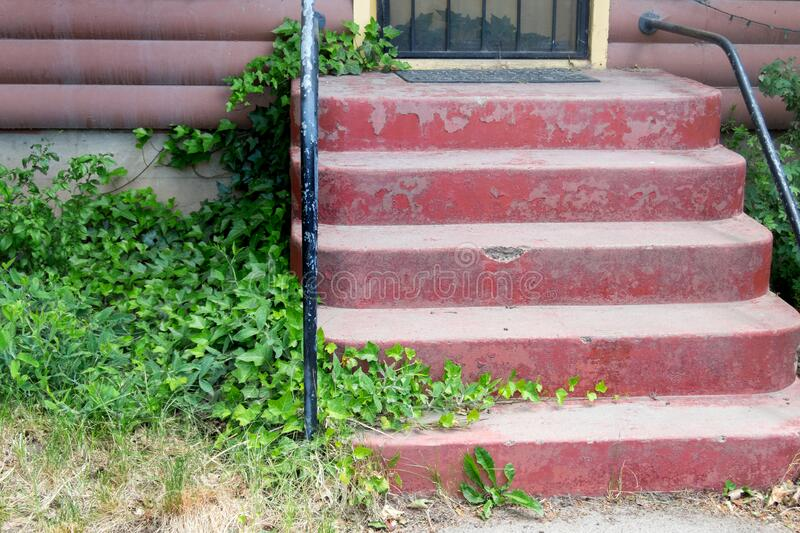Quaint residence, front entry steps stock photos