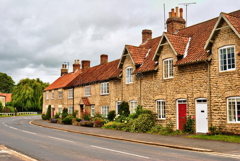 Quaint Row Of English Village Houses Royalty Free Stock Images