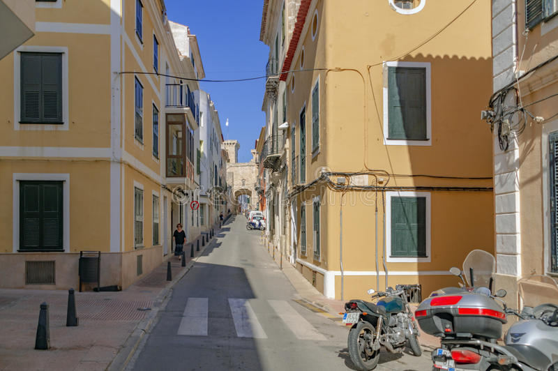The quaint streets of Mahon in Spain. Mahon/Spain. 21st June 2012. The beautiful Menorcan capital of Mahon in Spain on a warm summer's day. Image captured during royalty free stock photography