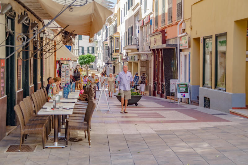 The quaint streets of Mahon in Spain. Mahon/Spain. 21st June 2012. The beautiful Menorcan capital of Mahon in Spain on a warm summer's day. Image captured during royalty free stock photos