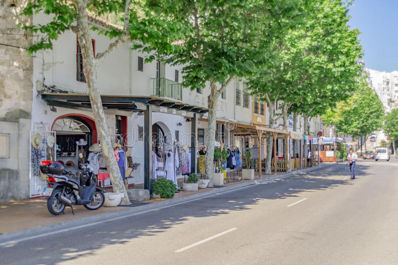 The quaint streets of Mahon in Spain. Mahon/Spain. 21st June 2012. The beautiful Menorcan capital of Mahon in Spain on a warm summer's day. Image captured during royalty free stock image