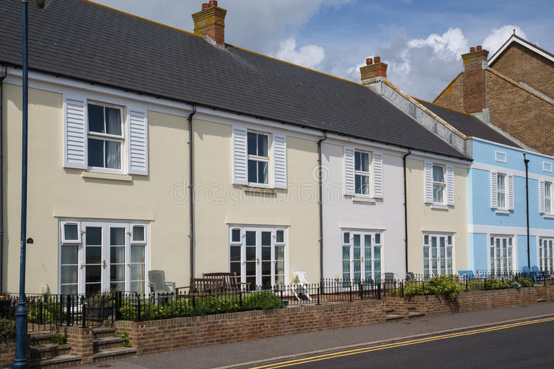 Quaint terrace houses in Hythe, kent, UK. On the seafront royalty free stock images