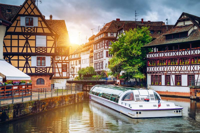 Quaint timbered houses of Petite France in Strasbourg, France. F. Ranch traditional houses at Strasbourg, France royalty free stock photography