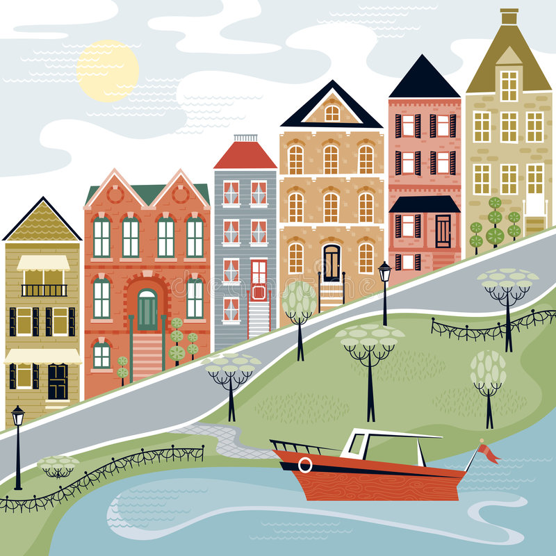 Quaint Village Street with Water Scene stock illustration
