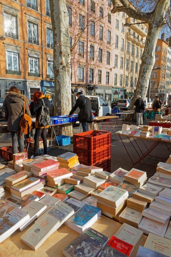 Quais de赛隆的二手书商 免版税库存照片